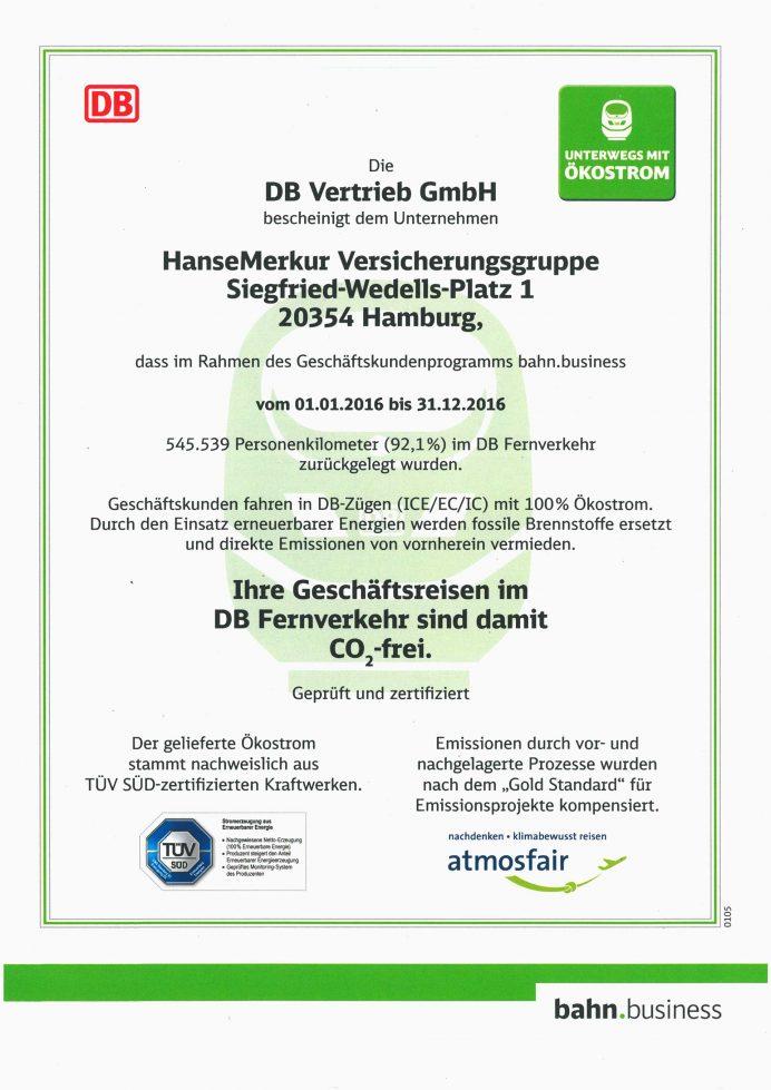 Auszeichnung DB CO2 frei 2016