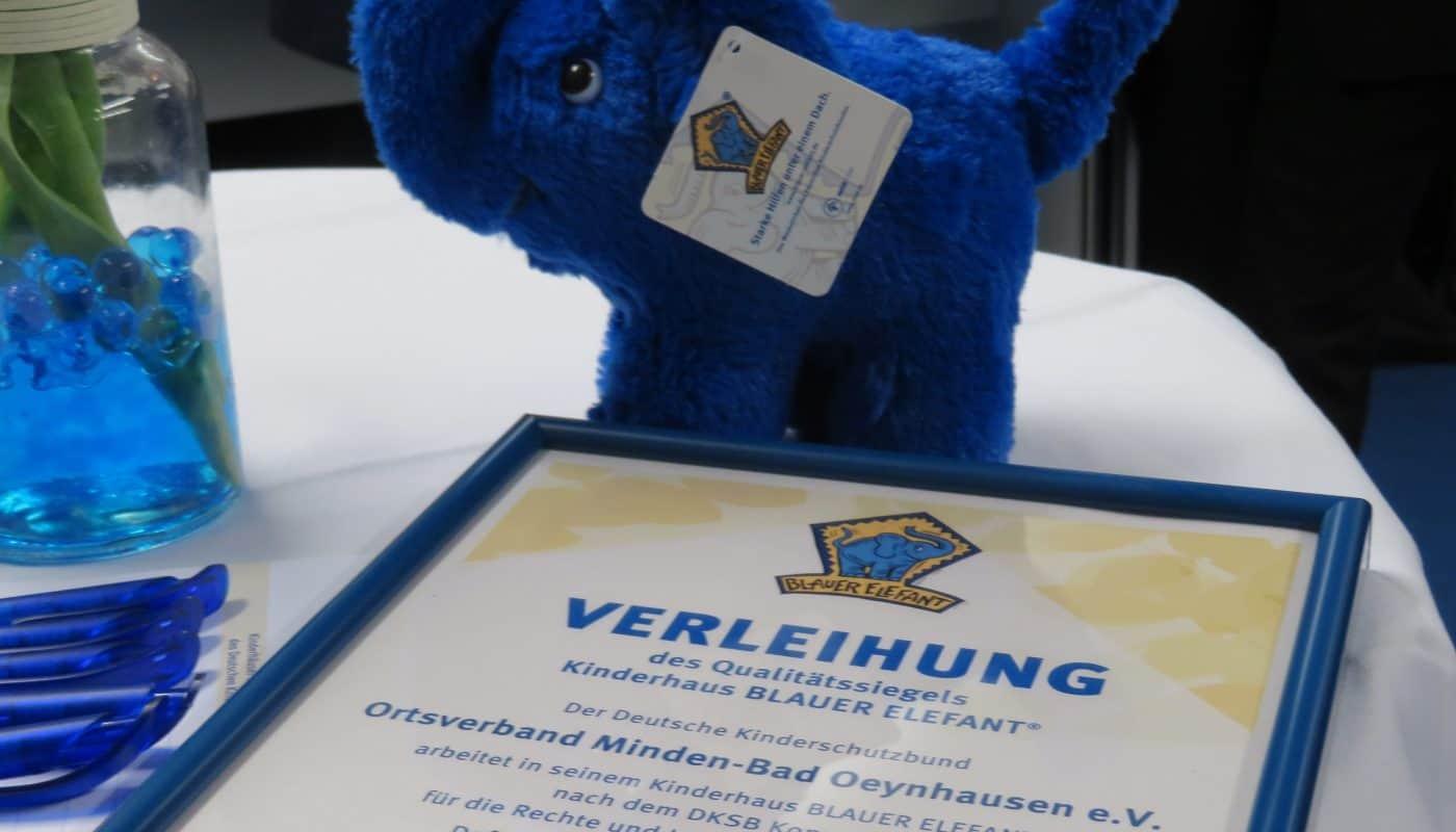 blauer elefant minden Urkunde3