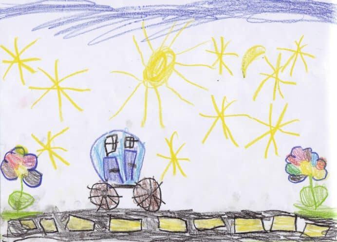 Kinderzeichnung: Autofahrt unter Sternen (Quelle: Pixabay)